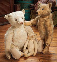 Three Early German Mohair Well-Loved Teddy Bears by Steiff 700/1000 .'