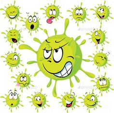 Buy Virus Set by hanaschwarz on GraphicRiver. Virus with many facec expressions – vector illustration on white background Alien Drawings, Art Drawings For Kids, Bullet Journal For Kids, Bacteria Cartoon, Free Vector Images, Vector Free, Love Is Cartoon, Floral Logo, Environmental Art