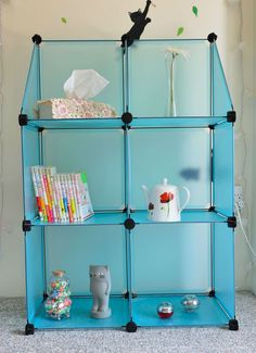 CUSTOMIZABLE !!!  PP Plastic storage rack Teal color book shelf  Large #Modern