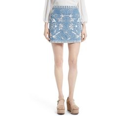 Women's Alice + Olivia Riley Embroidered Chambray Miniskirt ($275) ❤ liked on Polyvore featuring skirts, mini skirts, short a line skirt, white skirt, short white skirt, alice olivia skirt and a-line skirt