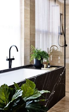 Black Marble in the Bathroom: Tile, Baths, Fixtures & Floors | Apartment Therapy
