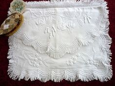 Mountmellick embroidery/crewel needle work - lost art - this is a nightdress case Floral Embroidery, Embroidery Stitches, Hand Embroidery, Drawn Thread, Thread Art, Wedding Lace, Lace Weddings, Art Clothing, Lacemaking