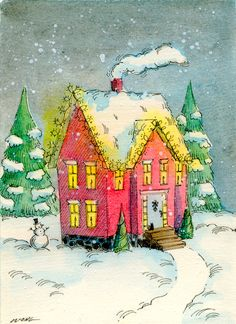 Original ACEO Painting -- Bright home on a dark winter night. $35.00, via Etsy.