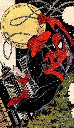 Spider-Man swinging around in a snowy NY (Amazing Spider-Man #314, April 1989) - Todd McFarlane & Bob Sharen