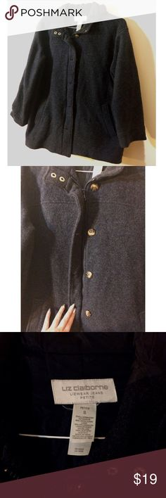 Vintage Wool Blend Charcoal Coat Warm and cozy vintage Liz Claiborne wool blend coat with hood. This jacket is awesome but the lining inside is damaged. Please see last pic for details! Marked as petite small Vintage Jackets & Coats