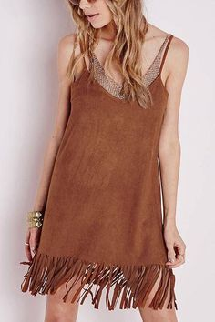 Sleeveless Artificial Suede V-neck Mini Dress with Fringed Trim