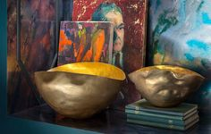 Dixon's Bash bowls are shaped by hand to create their signature form, then finished with a gold wash.