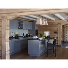 « The oposite view. Cabin Homes, Log Homes, Chalet Interior, Interior Design, Timber Cabin, Log Home Interiors, Luxury Cabin, Cottage Kitchens, Scandinavian Cabin