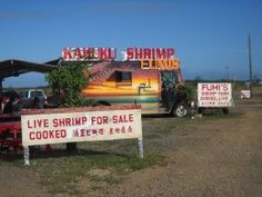Shrimp Trucks on the North Shore Oahu; had the garlic shrimp at this very one just past the Turtle Bay Resort www.allabouttravel.org www.facebook.com/AllAboutTravelInc 605-339-8911 #travel