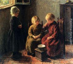 Edward Potthast - Edward Potthast Blowing Bubbles Painting