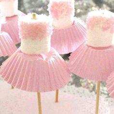 Ballet birthday party idea. Marshmallows with skirts.
