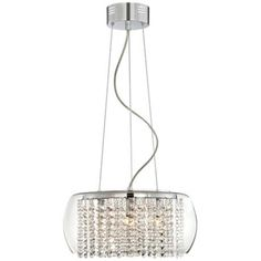 """Crystal Rainfall Glass Drum 16"""" Wide Chandelier $199 Lamps Plus"""