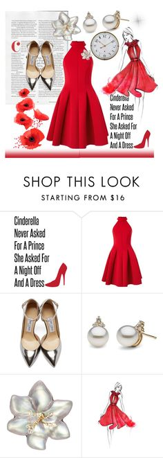 """""""A dress can change your life"""" by guzeliko ❤ liked on Polyvore featuring Miss Selfridge, Jimmy Choo, Alexis Bittar, Alouette, women's clothing, women, female, woman, misses and juniors"""