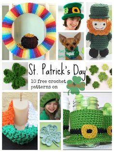 the Luck of the Irish with 10 Free Crochet Patterns! Celebrate the Luck of the Irish with free St. ♣Celebrate the Luck of the Irish with free St. Crochet Wreath, Crochet Crafts, Crochet Yarn, Yarn Crafts, Crochet Projects, Free Crochet, Diy Projects, Saint Patrick, Crochet Round