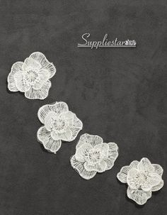Bright White Pearl Rose Lace Applique x 3 Garment Item No.600 by Suppliestar #weddings #bridal #hairpieces #garment #appliques
