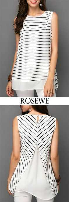 Stripe Print Sleeveless Chiffon Patchwork White Blouse. #top ewe #chiffon #top - #blouse