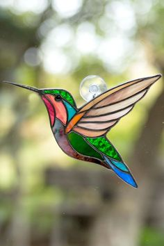 Stained glass hummingbird suncatcher Christmas gift Custom stained glass bird with orchid plant hummingbird gift - zahnpasta Stained Glass Ornaments, Stained Glass Flowers, Stained Glass Suncatchers, Stained Glass Crafts, Fused Glass, Blown Glass, Glass Beads, Custom Stained Glass, Stained Glass Designs