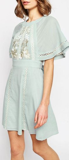 I want this, but as a maxi!-mint embroidered cape top dress