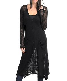 Take a look at this Black Slub Sheer Duster on zulily today!