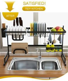 Stainless Steel Kitchen Dish Rack Organizer Increase your kitchen storage space for best over the sink dish rack Keep your kitchen counter organized and drying Kitchen Space Savers, Tidy Kitchen, Kitchen Dishes, Kitchen Shelves, Home Decor Kitchen, Kitchen Interior, Kitchen Storage, Kitchen Ideas, Kitchen Racks