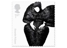 'alexander mcqueen' by johnson banks. a set of postage stamps that celebrate the last 60 years of british fashion. the piece shown on the stamp is 'black raven' from mcqueen's horn of plenty 2009 collection. Royal Mail Stamps, Uk Stamps, Postage Stamps, Great British, British Style, British Fashion, British Summer, Alexander Mcqueen, Vivienne Westwood