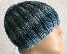 8e407b05d57 Denim blue striped beanie hat mens womens knit hat striped hat blue toque  ribbed hat blue hat chemo cap wool silk blend hat blue beanie hat