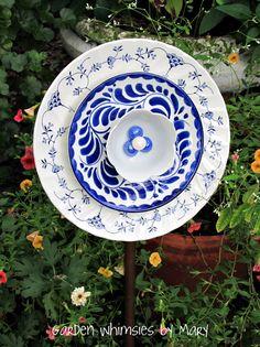Plate Flower Blue Swirl Reserved for by GardenWhimsiesByMary