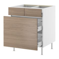 AKURUM Base cabinet with 2+2 drawers IKEA Built-in dampers make the doors close slowly, quietly and softly.