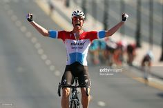 Bob Jungels of Luxembourg and Etixx- Quick Step celebrates winning stage one of the 2016 Tour of Oman, a 145km road stage from Oman Exhibition Centre to Al Bustan on February 16, 2016 in Al Bustan, Oman. #TOO2016 #rm_112