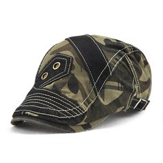 Men Pure Cotton Camouflage Patchwork Beret Caps Outdoor Visor Peaked Cap  Forward Hat Adjustable a1ea9440330d