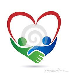 Handshake people with heart union concept vector icon logo