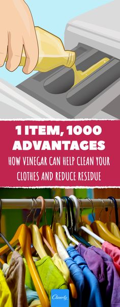 How vinegar can help clean your clothes and reduce residue #laundry #vinegar #clean #clothes #lifehacks