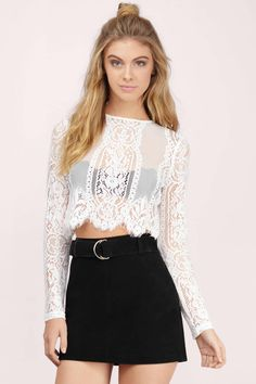 Looking for the Le Bain White Lace Crop Top? | Find Crop Tops and more at Tobi! - 50% Off Your First Order - Fast & Free Shipping For Orders over $50 - Free Returns within 30 days!