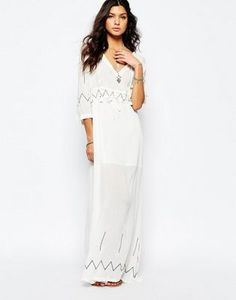 Stevie May Miss Hart Longsleeve Maxi Dress in White