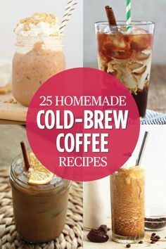 Cold Brew Coffee Recipes - Delicious Coffee Recipes You've Got to Try - Plain old hot coffee is boring. Jumpstart your morning with a refreshing kick of iced coffee instead. Head over to for the complete recipe round-up. Ninja Coffee Bar Recipes, Coffee Drink Recipes, Cold Coffee Drinks, Cold Brewed Coffee, Cold Brew Coffee Recipe Starbucks, Tea Drinks, Blended Coffee Recipes, Healthy Iced Coffee, Espresso Recipes