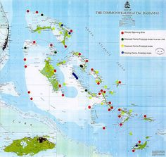 Map of Bahamas, Cuba & South eastern Florida coastline | Maps of ...