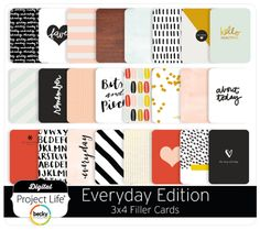 For the love of minimalist design! Liz Tamanaha has done it again with the Everyday Edition. Scrapbook Journal, Journal Cards, Scrapbook Pages, Digital Project Life, Project Life Cards, Becky Higgins, Pocket Scrapbooking, Barbie Dream House, Creative Journal