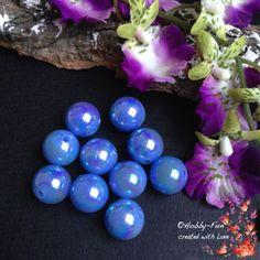 """10 Acrylperlen """"Hellblau - Regenbogen"""""""