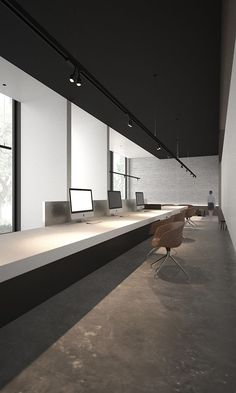 Project by AD Office - render minimalist office Corporate Office Design, Office Interior Design, Office Interiors, Office Designs, Open Office, Tiny Office, Office Meeting, Black Office, Minimalist Office