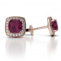 Rose Gold Cushion Ruby & Diamond Earrings AGER-1061-I