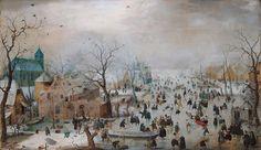 Hendrick Avercamp Winter Landscape with Skaters Circa 1608. Rijksmuseum Amsterdam #art #arthistory #winter #landscape #dutch #painting