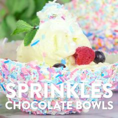 Ever since we saw Willy Wonka's chocolate room where literally everything is edible, we knew we'd never be complete until we experienced eating both a dessert and its container. So we figured out a way to make this fantasy a reality by creating edible, sprinkles-covered chocolate bowls that both kids and adults will love. The best part? Eating your bowl makes for the easiest cleanup ever.