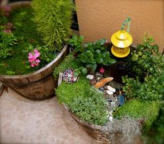fairy garden; My Grandma had one of these in her garden. I loved it as a little girl.