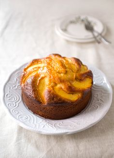 Olive Oil Cake with Fresh Peaches