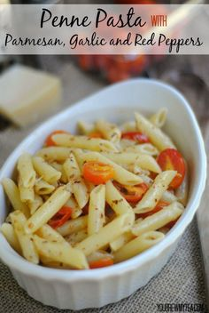 This Penne Pasta With Parmesan, Garlic and Red Peppers makes an amazing side dish to any of your favorite grilled meats!