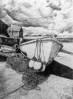 Mullion Cove. Pen & Ink.                           Glyn Overton.
