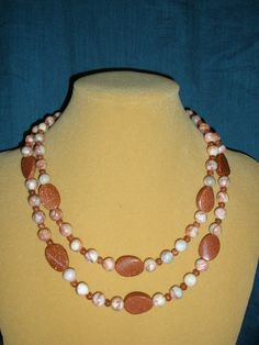 Brown Goldstone and Red  Line Marble NecklaceHoliday by yasmi65