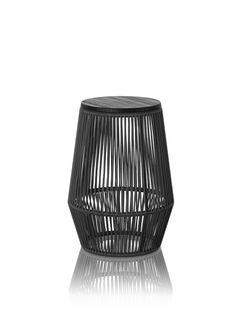 TAC dark grey side table - furniture design by davidpompa | Mexico | Made of handwoven plastic strings. Available in sand and dark grey colour.