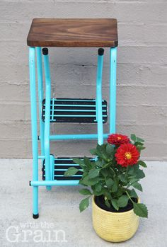Based in Brisbane, With the Grain lovingly hand restores furniture to create beautiful, functional, statement pieces to complement your home. Each piece is unique and we also do bespoke items on request.  This is an original Namco step stool and is very sturdy. The metal frame has been painted Seaside Blue and lightly distressed and it has the original rubber steps. The top seat is made of wood, has been stained walnut and finished with a satin varnish. The bottom steps fold in to make a ...