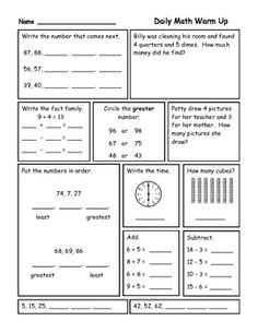 Daily Review sheets for reinforcement of basic first Grade Skills ...